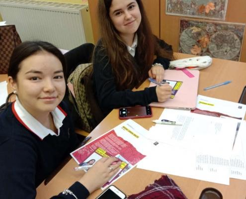 Female students in class room at Amadeus International School Vienna