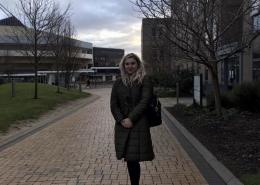 Girl in front of York University