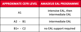 Table for Language Requirements