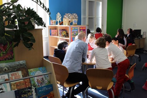 Students the school library