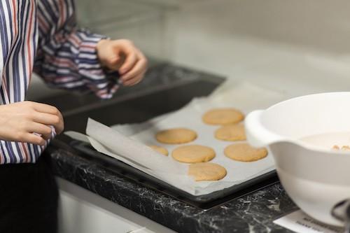 Hands making cookies