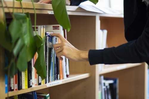 Handing taking book from book shelf
