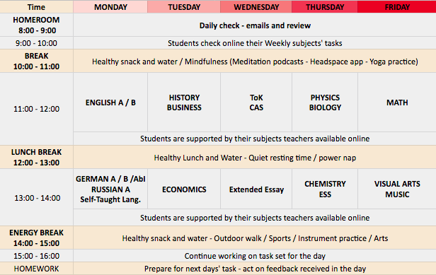 DP Timetable