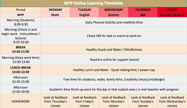 MYP Timetable