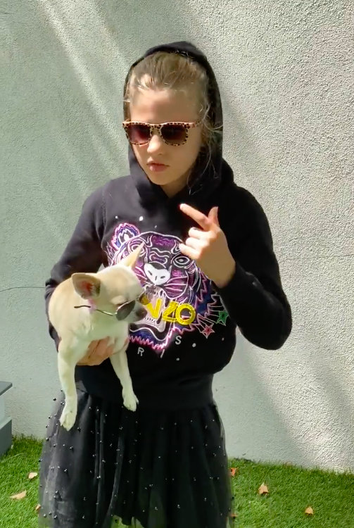 girl with sunglasses holding a dog with sunglasses