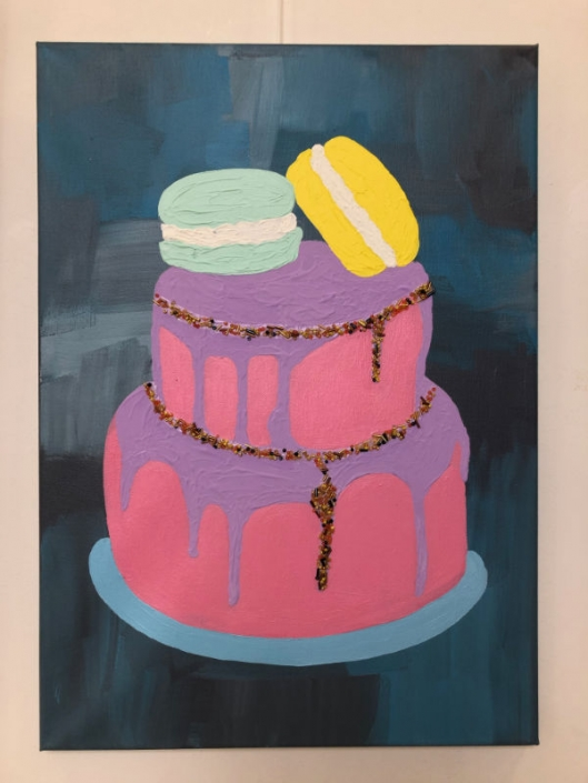 Painting of pink cake by art student