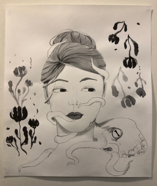 Drawing of woman by students at AMADEUS International School Vienna