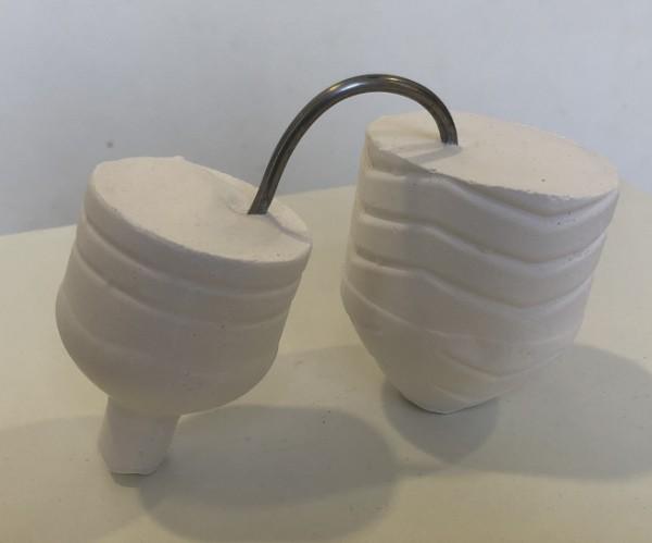 Plaster caster of bottle art work