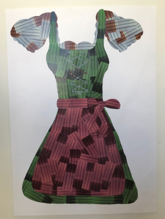 Collage of dirndl made by art student at AMADEUS Vienna