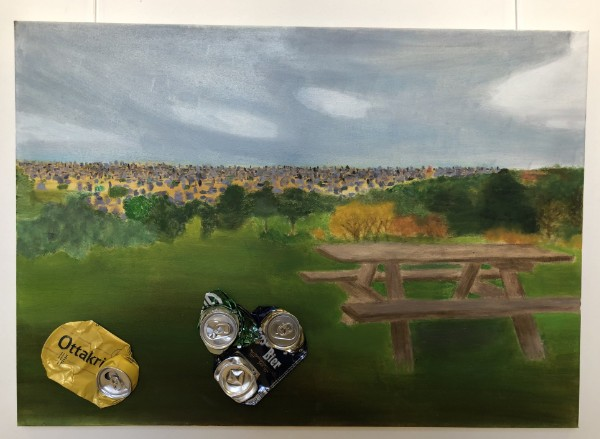 Oil painting with beer cans made by art student