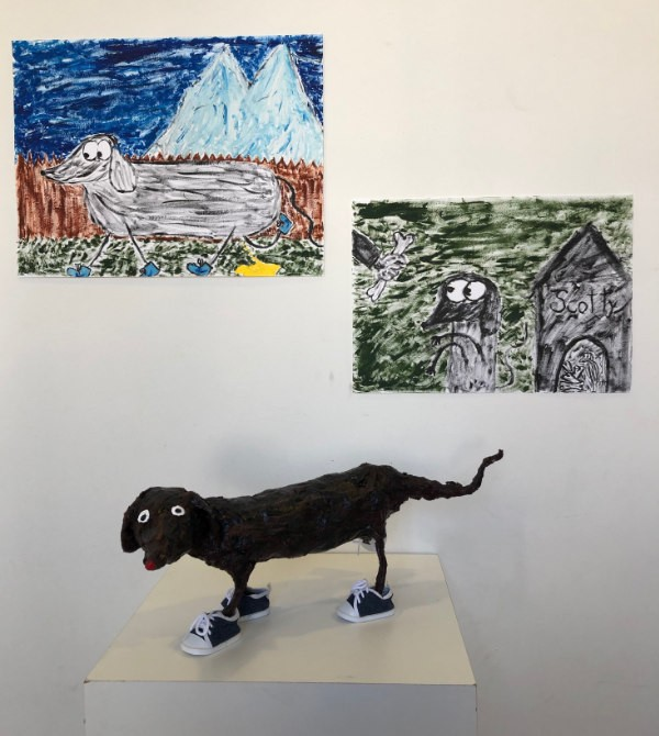 painting and sculpture of a dog made by art student
