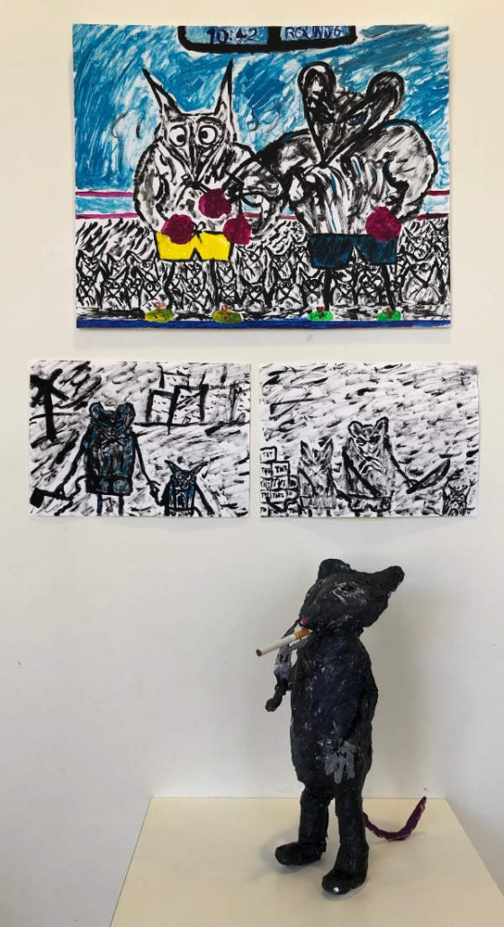 painting and sculpture of a smoking rat made by art student
