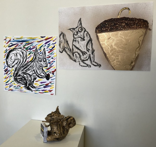 Painting and sculpture of squirrel made by Art student