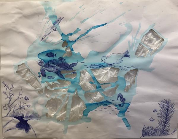 Ink art work by student at AMADEUS Vienna