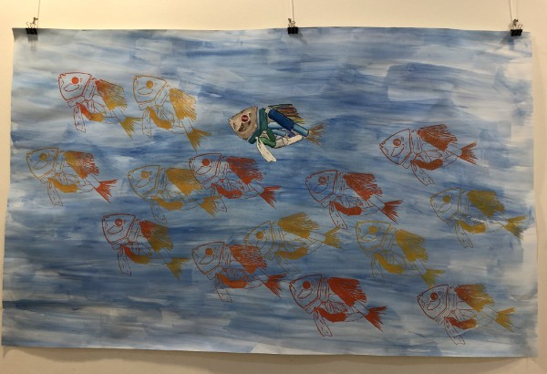 painting by fish in the ocean by student at AMADEUS Vienna