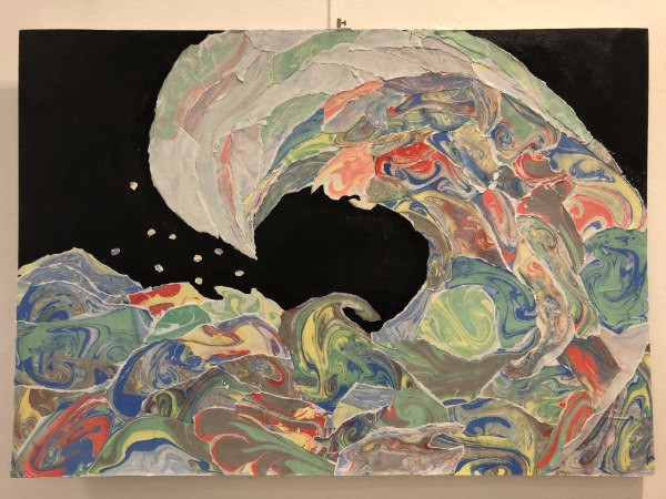Painting of wave by student at AMADEUS Vienna