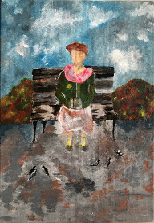Painting of old lady sitting on a bench made by art student