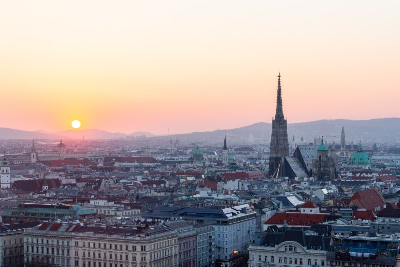 Sunset over the city of vienna