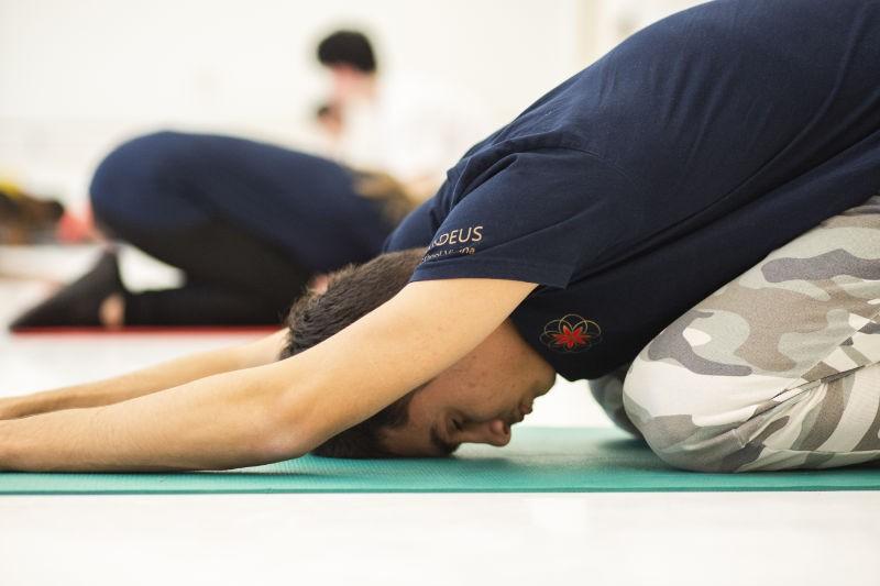 Boy stretching