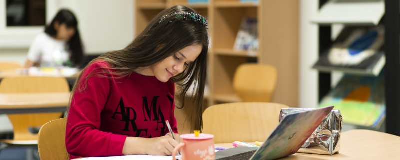 Female student studying at desk