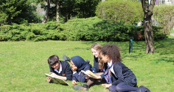 Students lying down on grass and looking into books