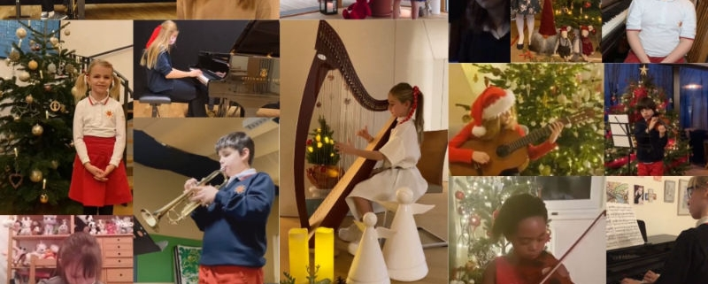 collage of children playing music