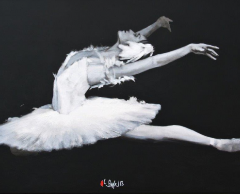 blacka nd white acrylic painting of ballerina