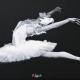blacka nd white acrylic painting of ballerina