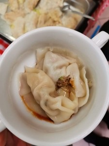 Dumplings in a white bowl